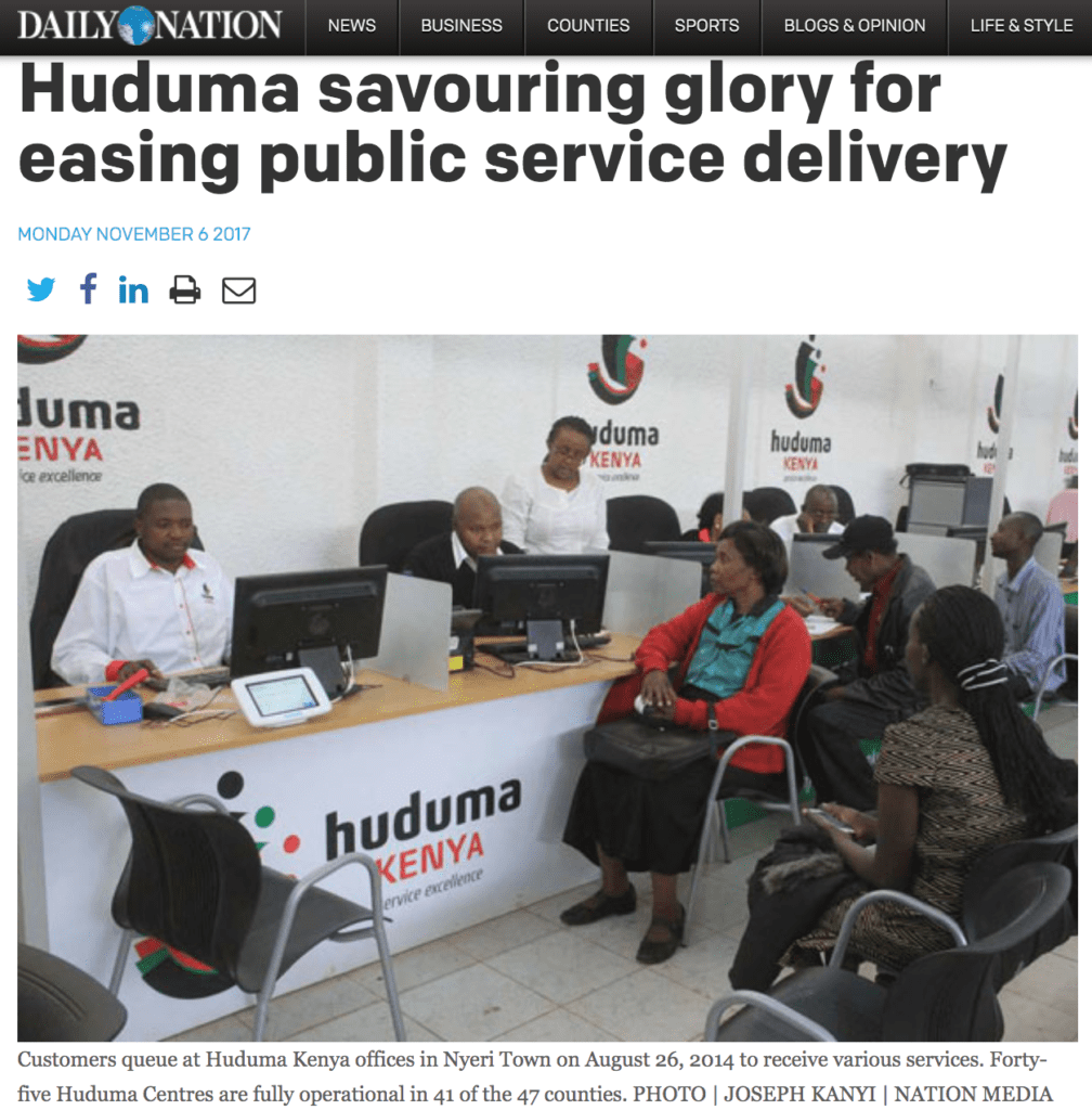 New Nation | Huduma Kenya | 1 Stop Public Service Article | 2017-2