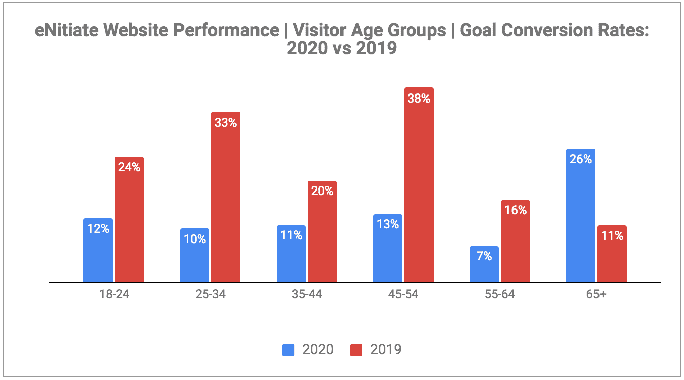 eNitiate Website Performance | Pageview Growth | Visitors | Age Groups | Goal Conversion Rates | 2019 and 2020 | Jan 2021